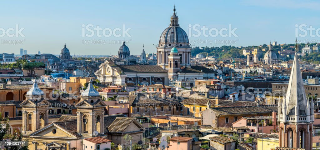A panoramic view of north skyline of the historical centre of Rome,...