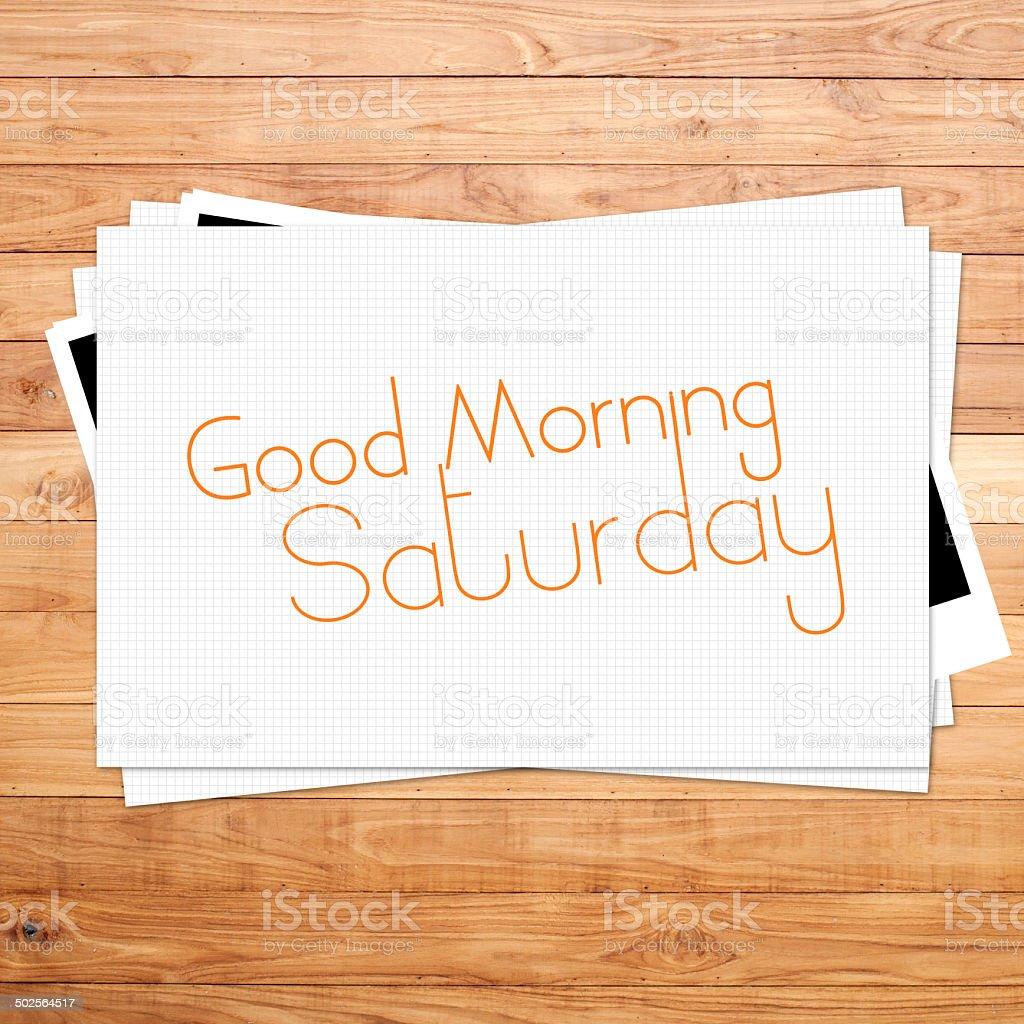 Guten Morgen Samstag Auf Papier Und Braun Holz Plank