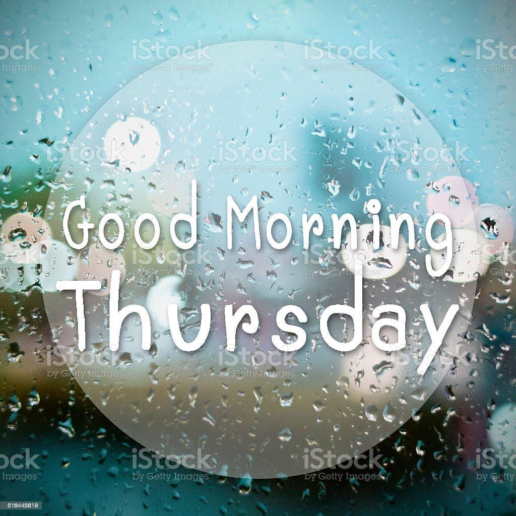 Guten Morgen Donnerstag Mit Wassertropfen Hintergrund Mit