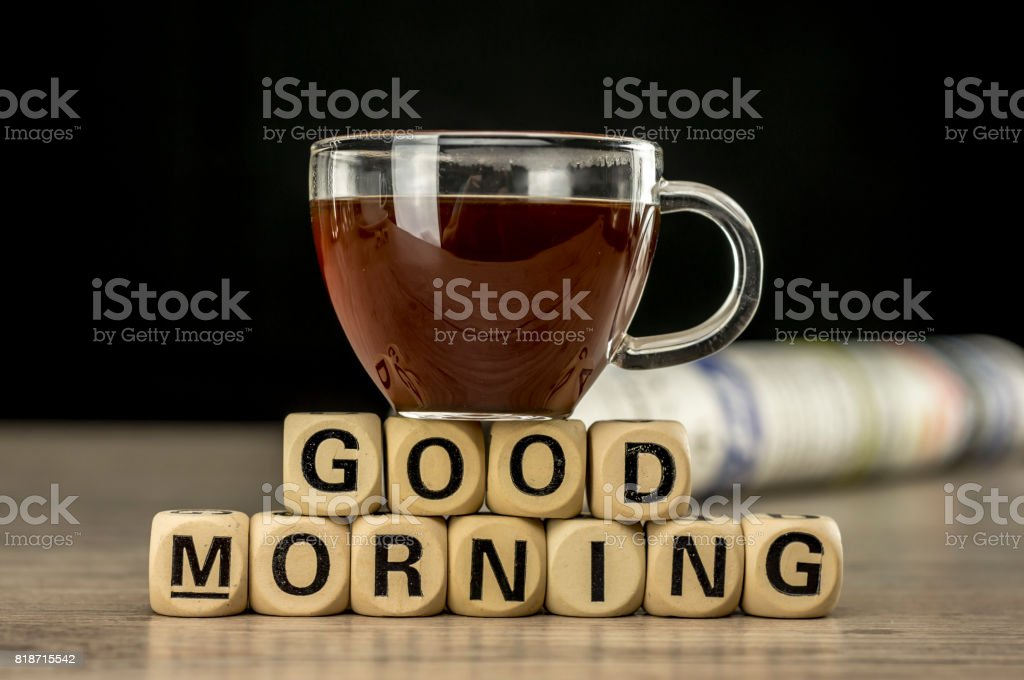 Good morning with coffee and newspaper stock photo