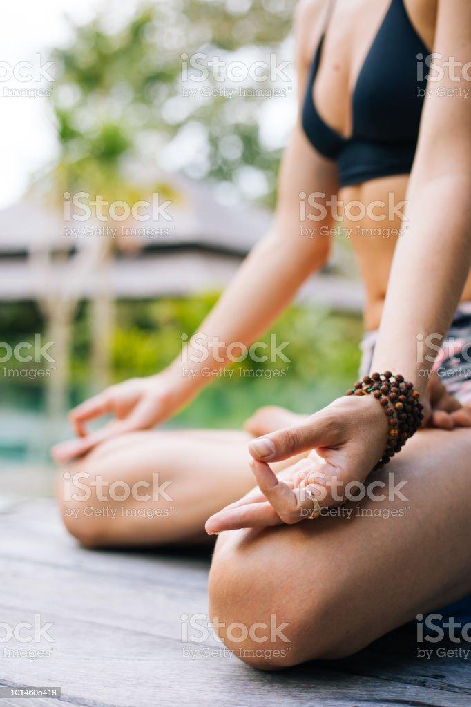 Good Morning With Woman Yoga Meditating Stock Photo