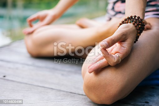 istock Good morning with woman yoga meditating 1014605496