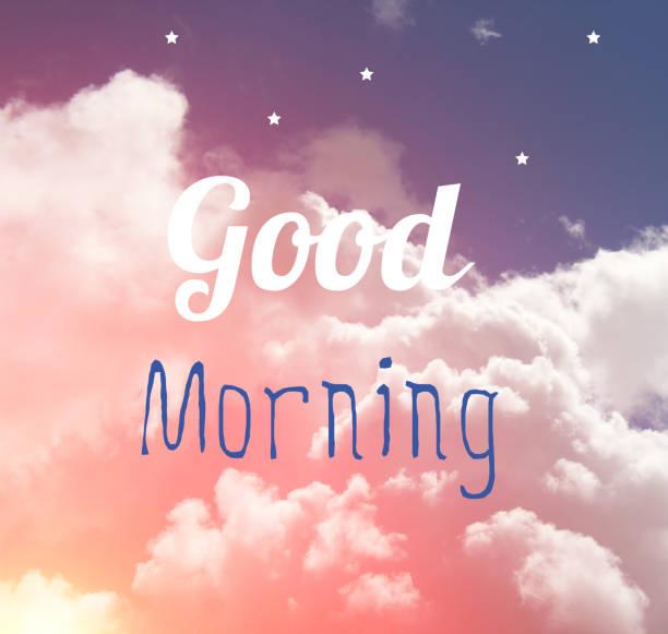 guten morgen-word-brief auf rosa und blau pastell himmel und weißen sternen. - wetter dienstag stock-fotos und bilder