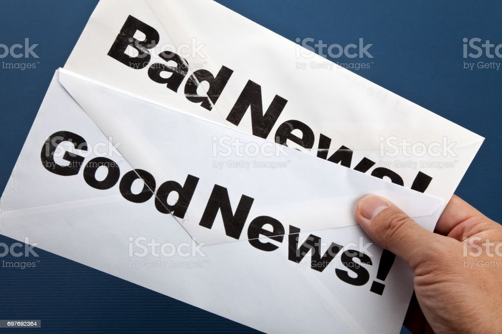 Good News and bad news stock photo