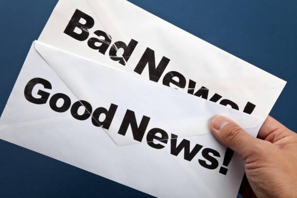 Good News and bad news stock photo