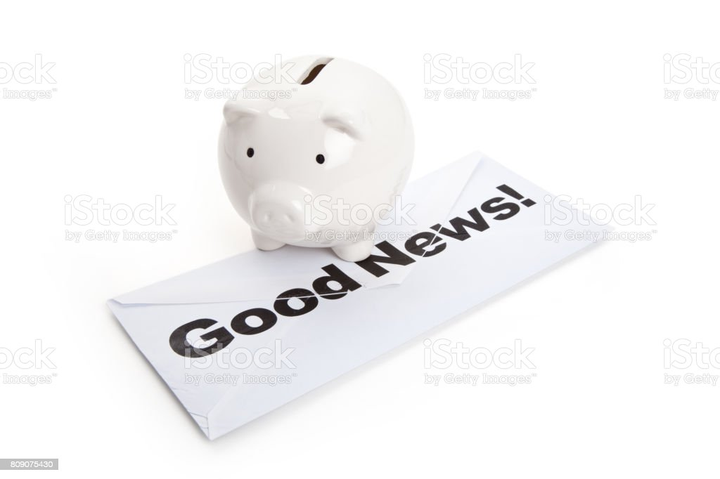 Good News and Piggy Bank royalty-free stock photo