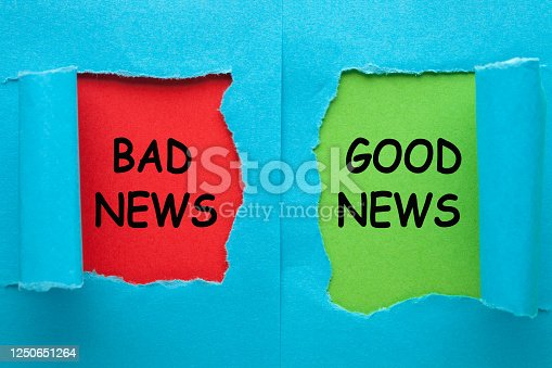 Good news or bad news text on blue torn paper in red and green background.