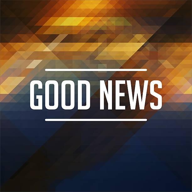 Good News Concept on Retro Triangle Background. stock photo