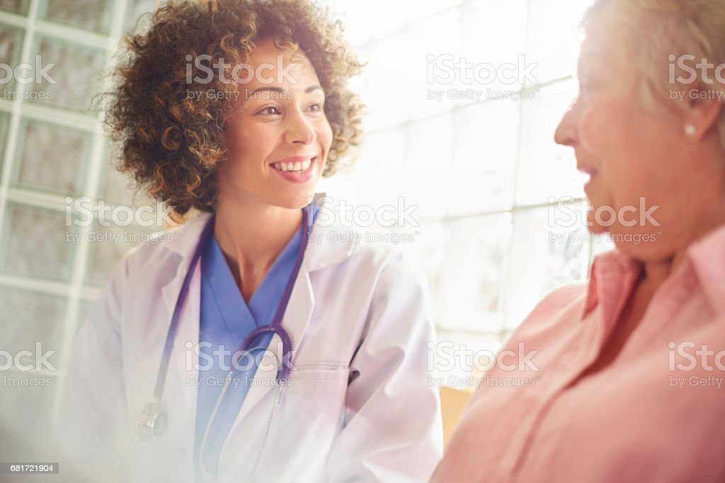 Good news from the doctor stock photo