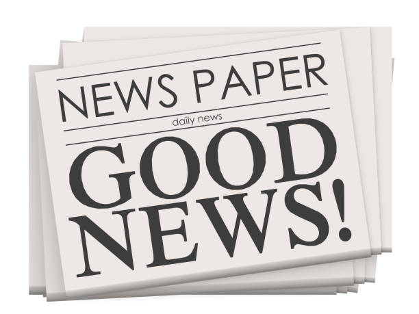 Good news on newspaper isolated stock photo