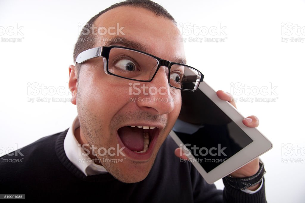 Good News on the Phone stock photo