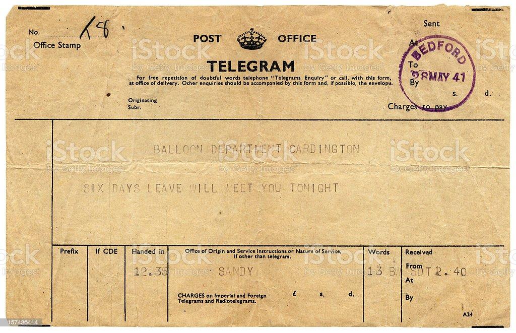 Good news telegram to Cardington, 1941 royalty-free stock photo