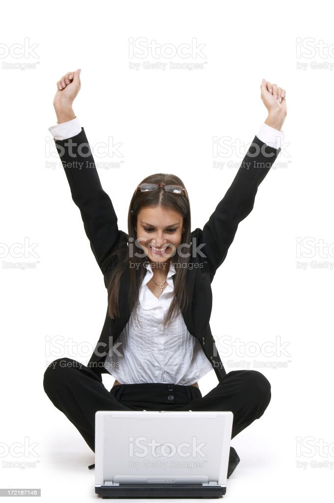 Good News travel fast A young lady with a computer on white background. Excitement Stock Photo