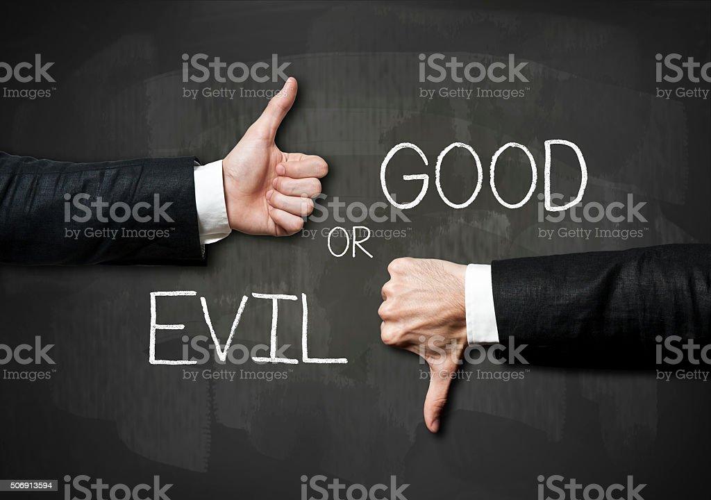 Good or Evil / Blackboard concept (Click for more) stock photo