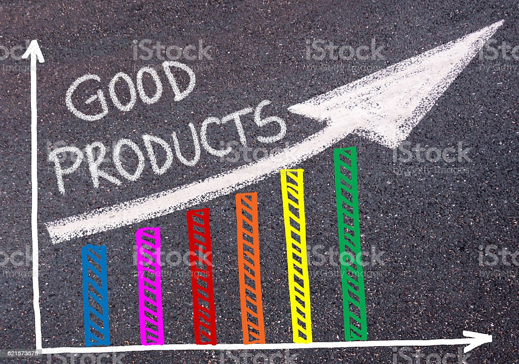 Good Products written over colorful graph and rising arrow photo libre de droits