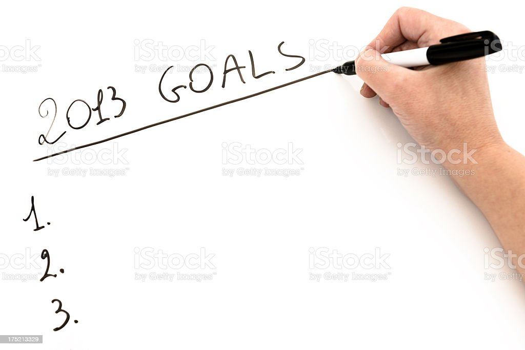 2013 good resolutions on whiteboard royalty-free stock photo