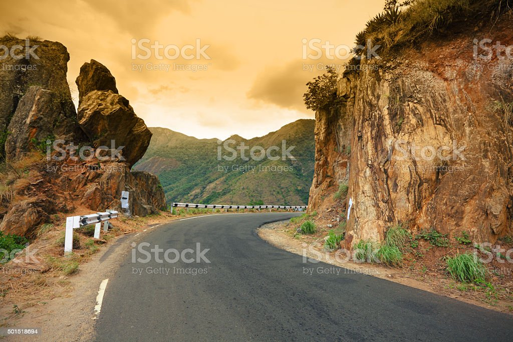 Good road in the mountains, Munnar stock photo