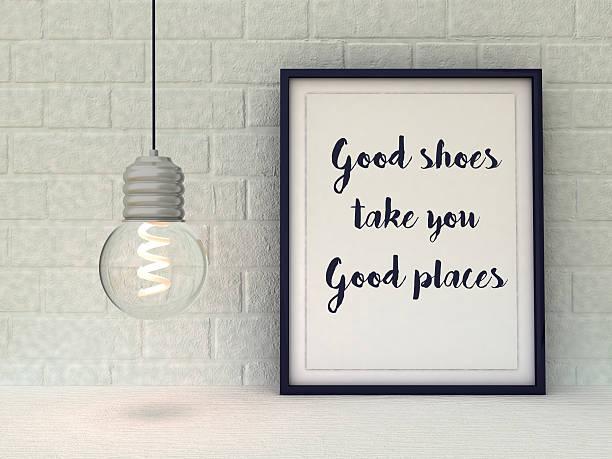 gute schuhe sie gute orte. lustiger kostenvoranschlag über mode - das leben genießen zitate stock-fotos und bilder