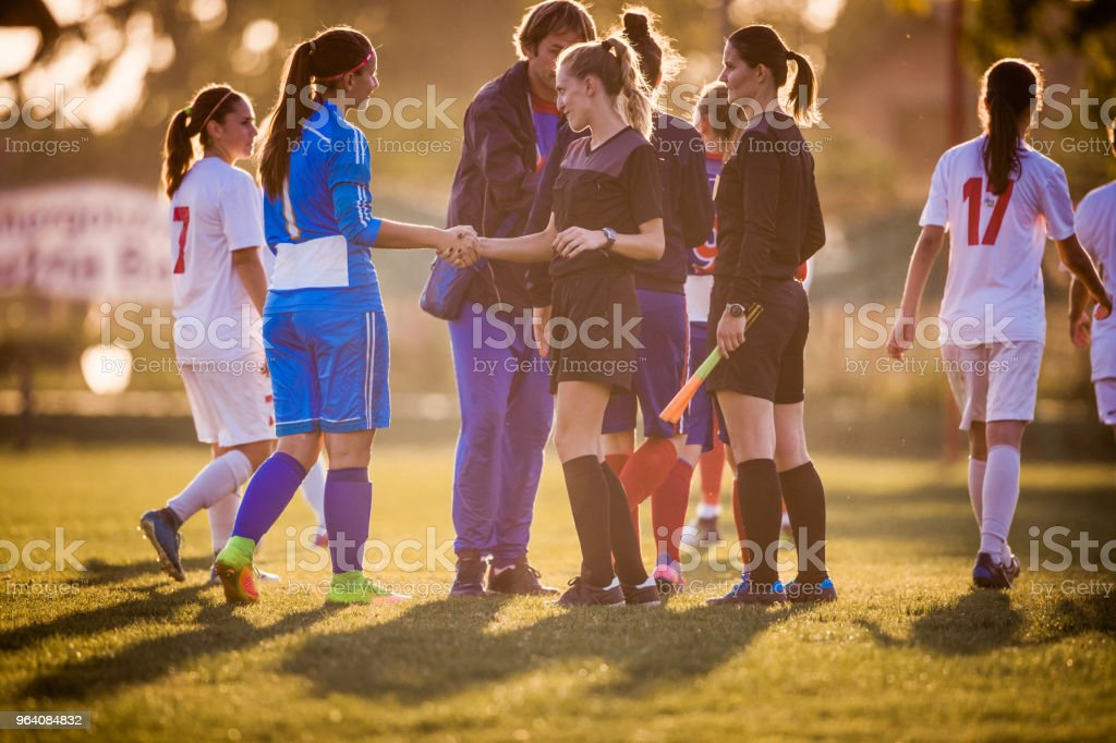 Good sportsmanship after woman's soccer match! - Royalty-free Adolescence Stock Photo