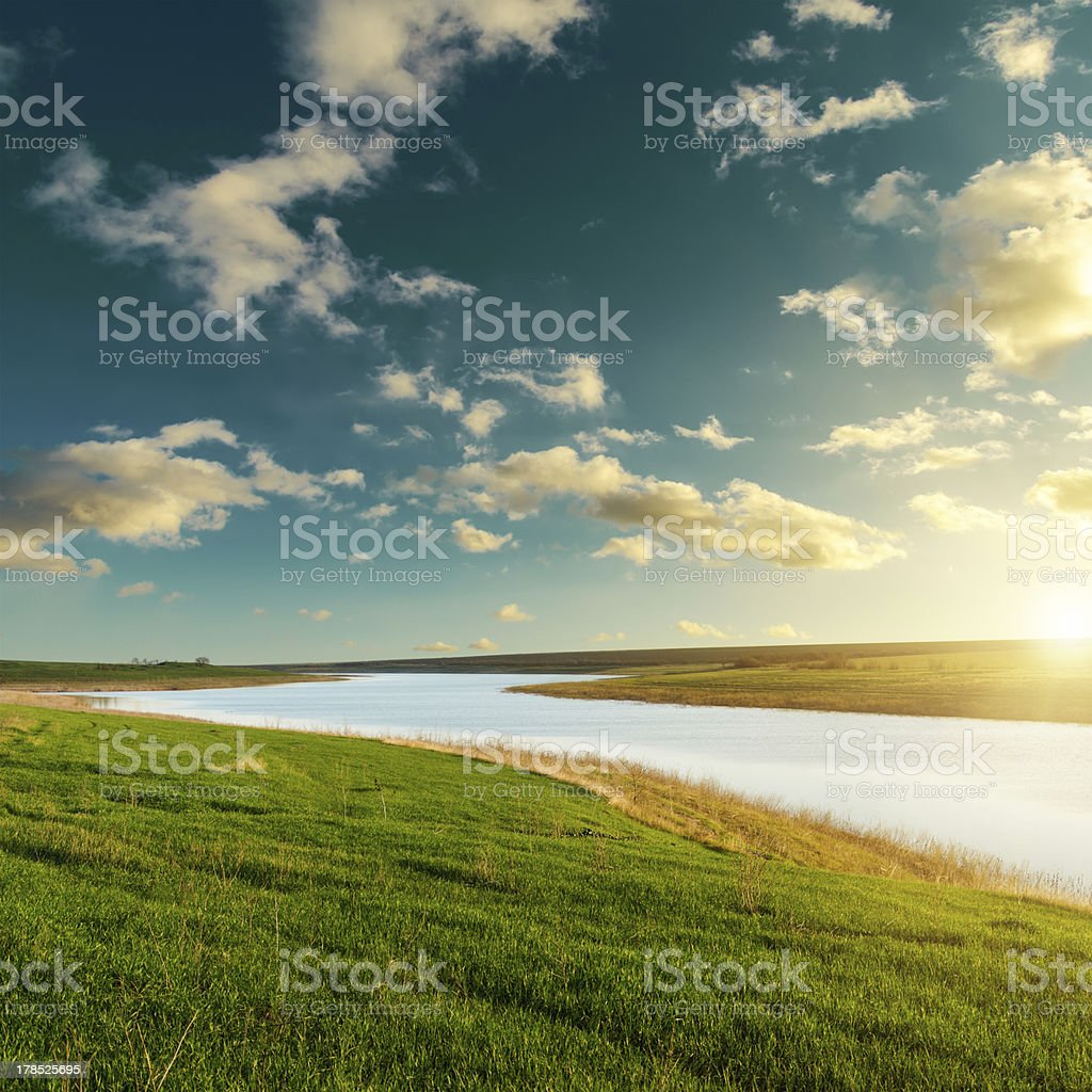 good sunset over river royalty-free stock photo