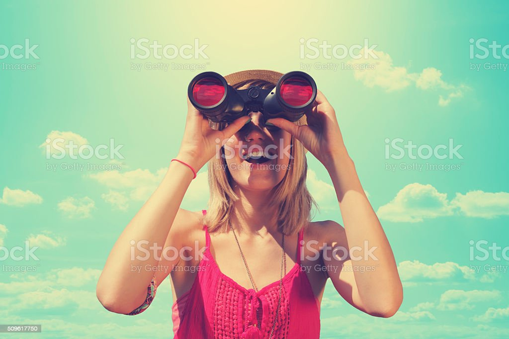Good time for nature observing through binoculars. stock photo
