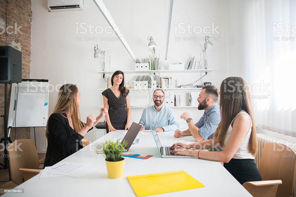 Good vibes at work stock photo