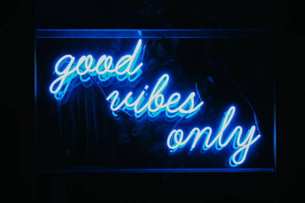 good vibes only neon light signage. - aura stock photos and pictures