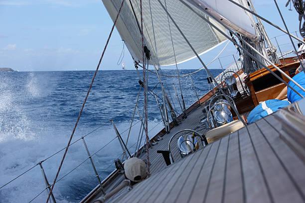 Good wind sailing at the regatta. stock photo