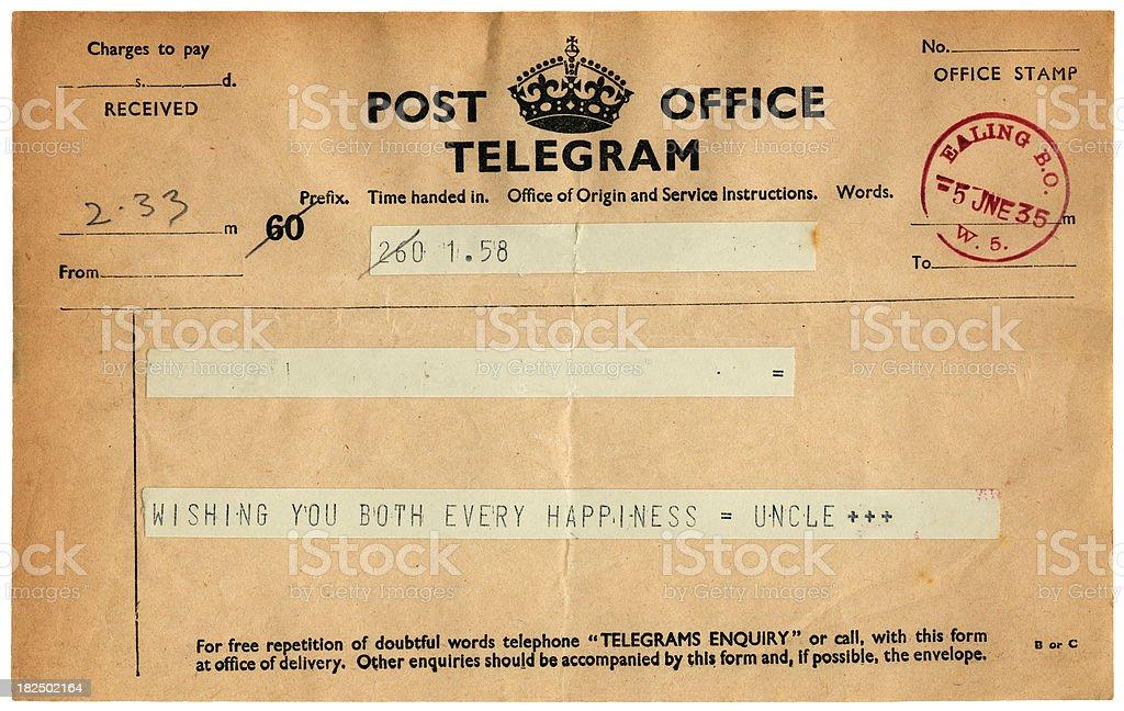 Good wishes telegram from 1935 stock photo