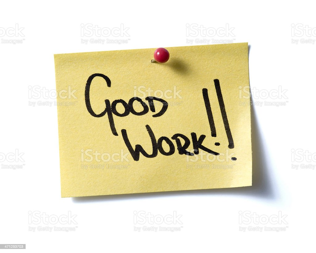 Good Work! post-it. royalty-free stock photo