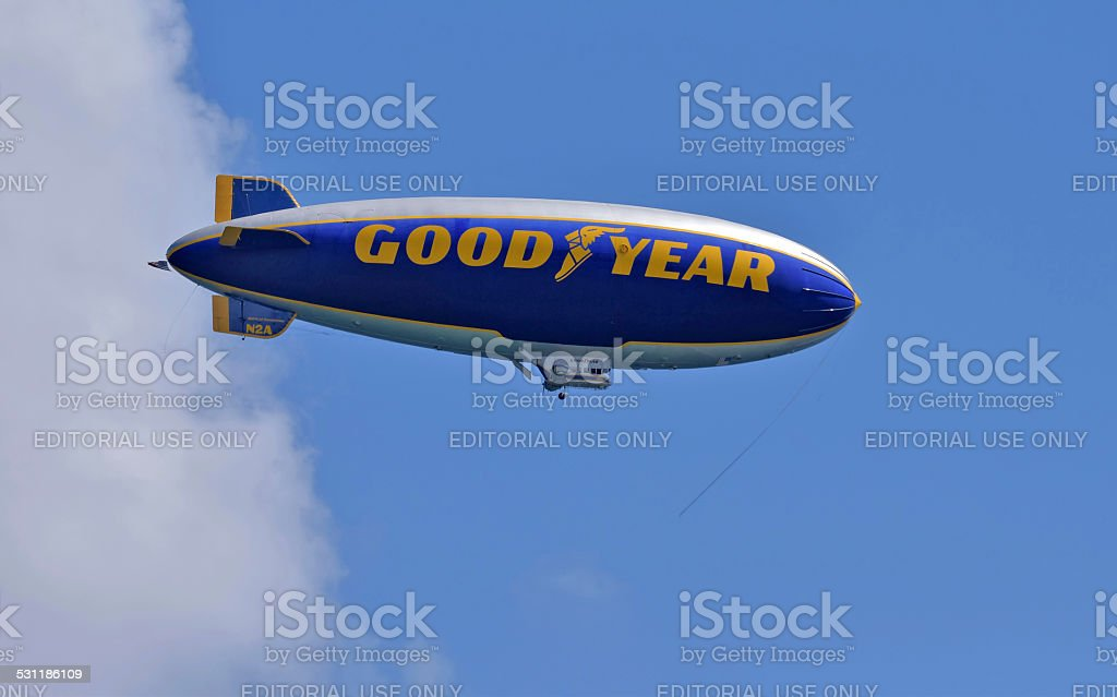Good Year blimp above South Florida stock photo