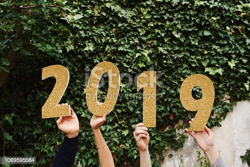 istock Goodbye 2018 - welcome 2019! 1069595584