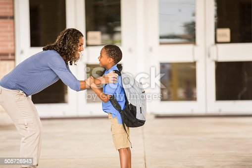 istock Goodbye mom. Little boy on his first day of school. 505726943