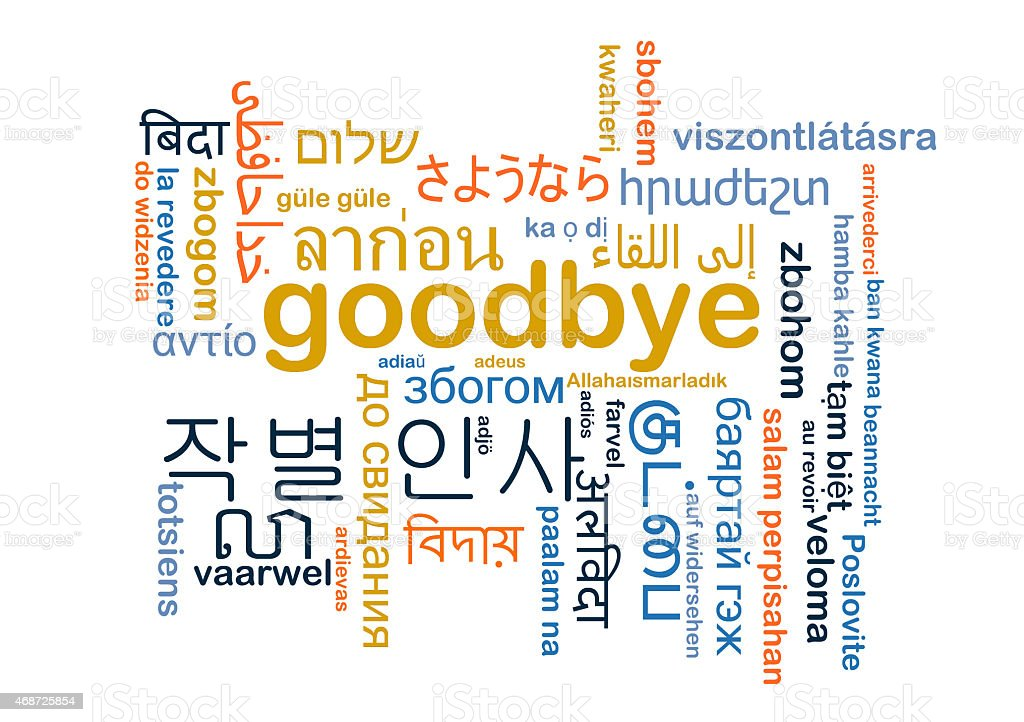 Goodbye multilanguage wordcloud background concept stock photo