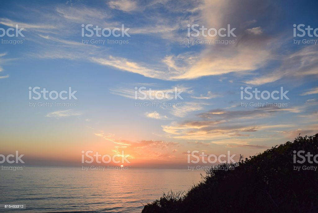 Goodbye Sun at Torrey Pines State Reserve in San Diego stock photo