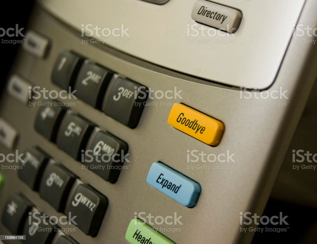 goodbye; telephone answering machine button stock photo