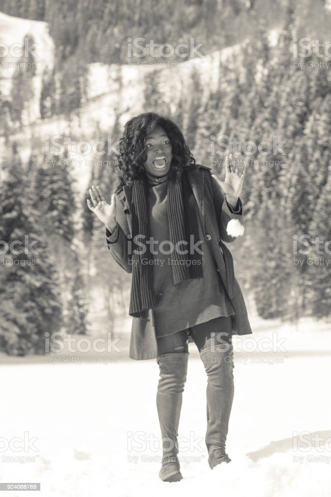 Good-humoured woman in fashion for big stock photo