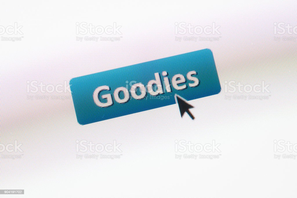 'Goodies' web button with mouse arrow on webpage stock photo