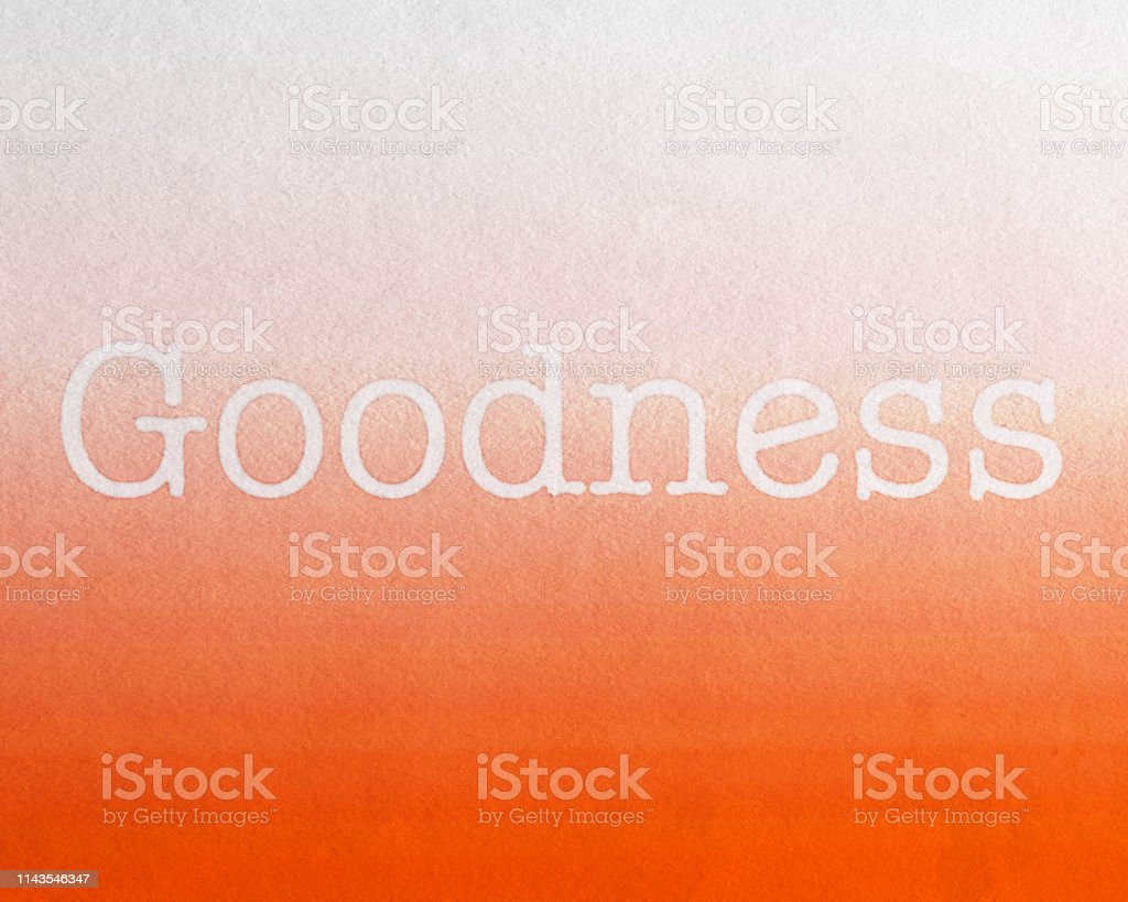 Goodness with Orange Background, watercolor painted Fruit of the Spirit stock photo