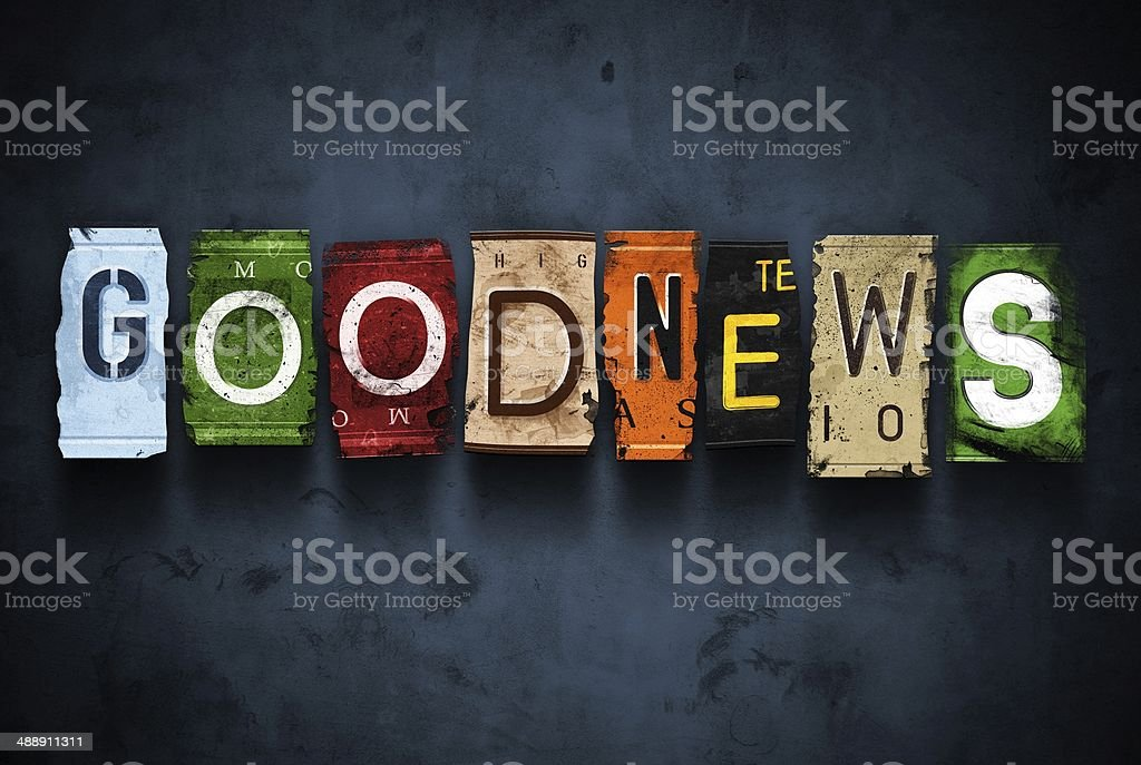 Goodnews word on vintage broken car license plates stock photo