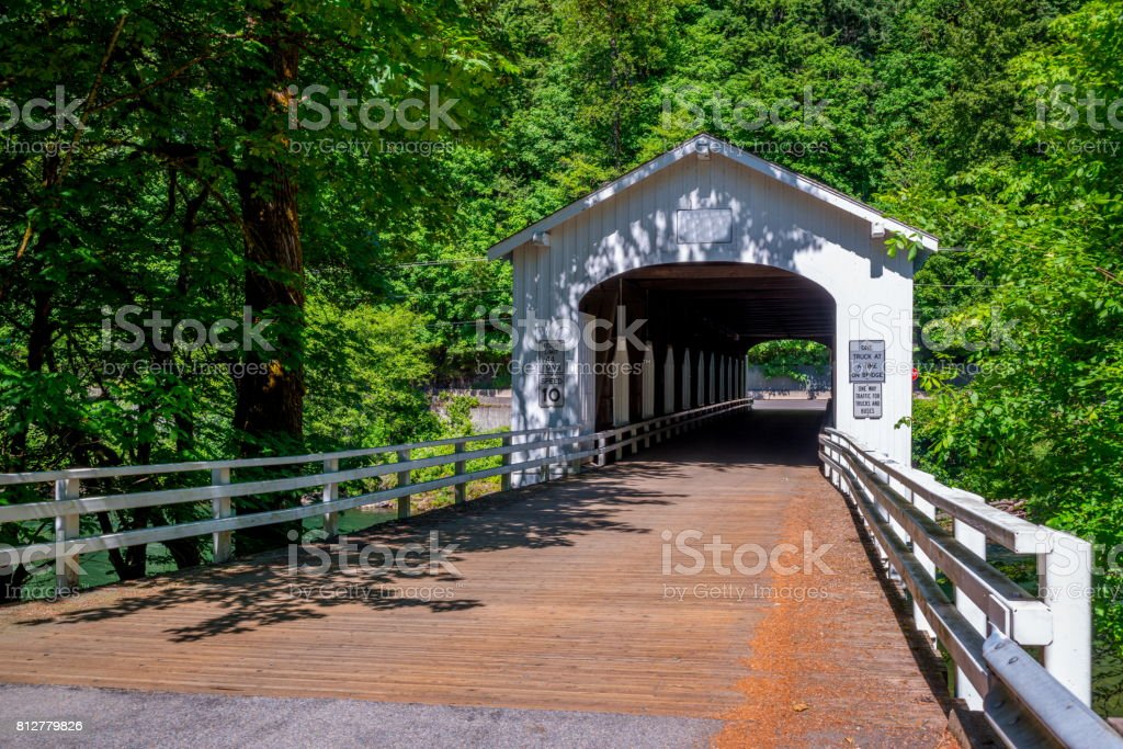 Goodpasture Covered Bridge Spans McKenzie River Oregon State stock photo