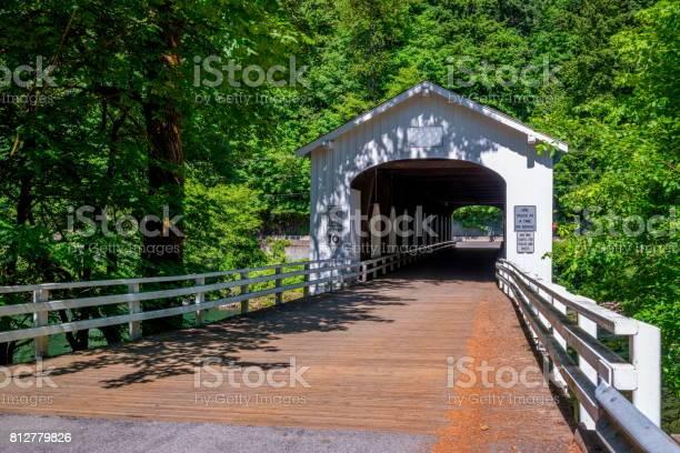 Goodpasture Covered Bridge Spans McKenzie River Oregon State