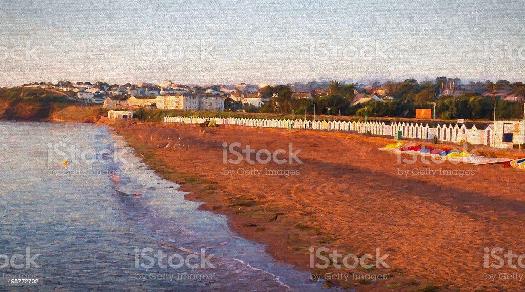Goodrington beach Paignton Devon with huts illustration like oil painting stock photo