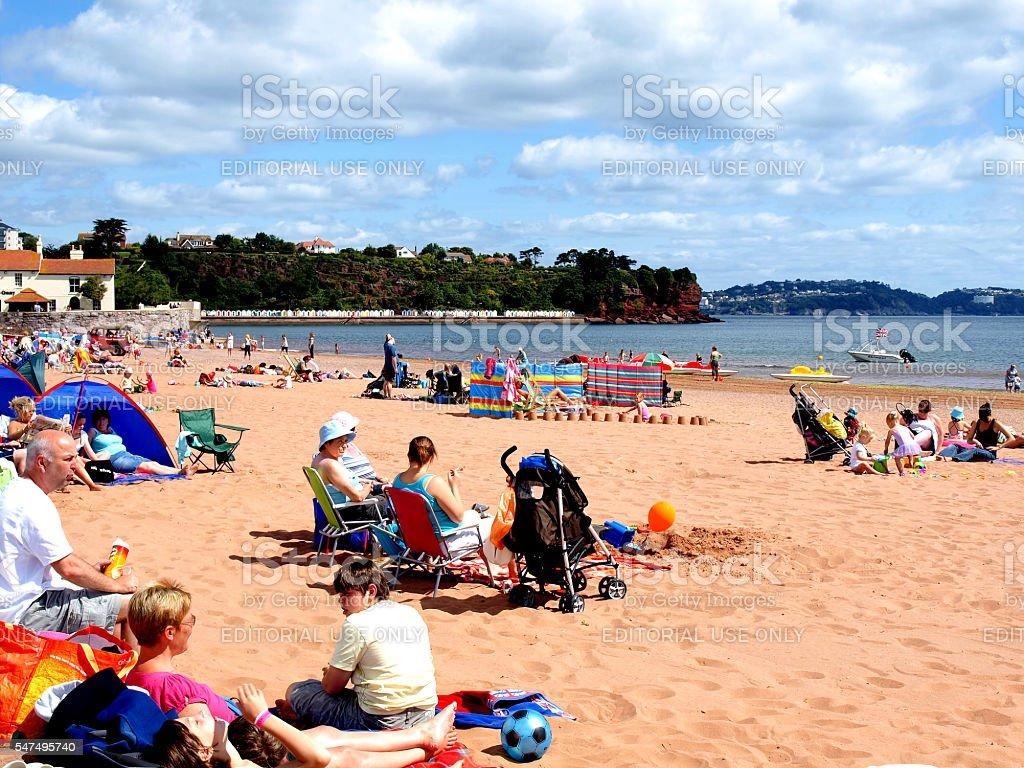 Goodrington Beach. stock photo