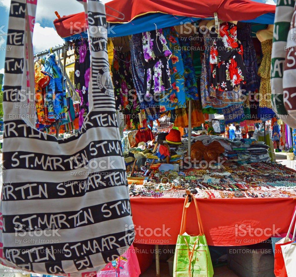 Goods at open air market in Marigot, St Martin stock photo