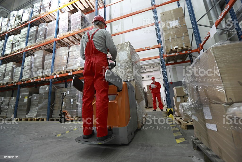 Goods delivery in storehouse stock photo