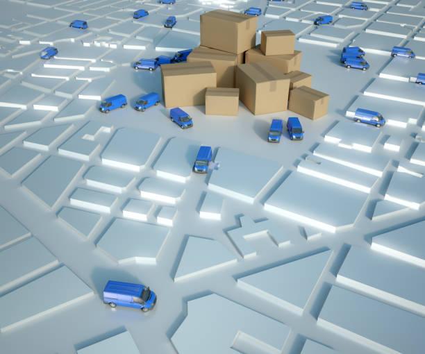 Goods distribution blue stock photo