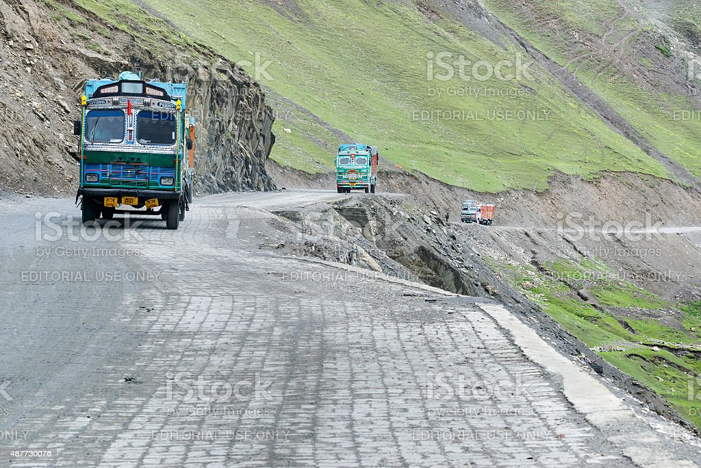 Goods trucks passing through Zoji La Pass, Srinagar Leh Highway stock photo