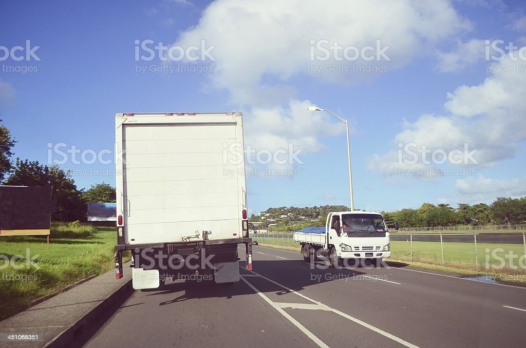 goods vehicles on highway royalty-free stock photo