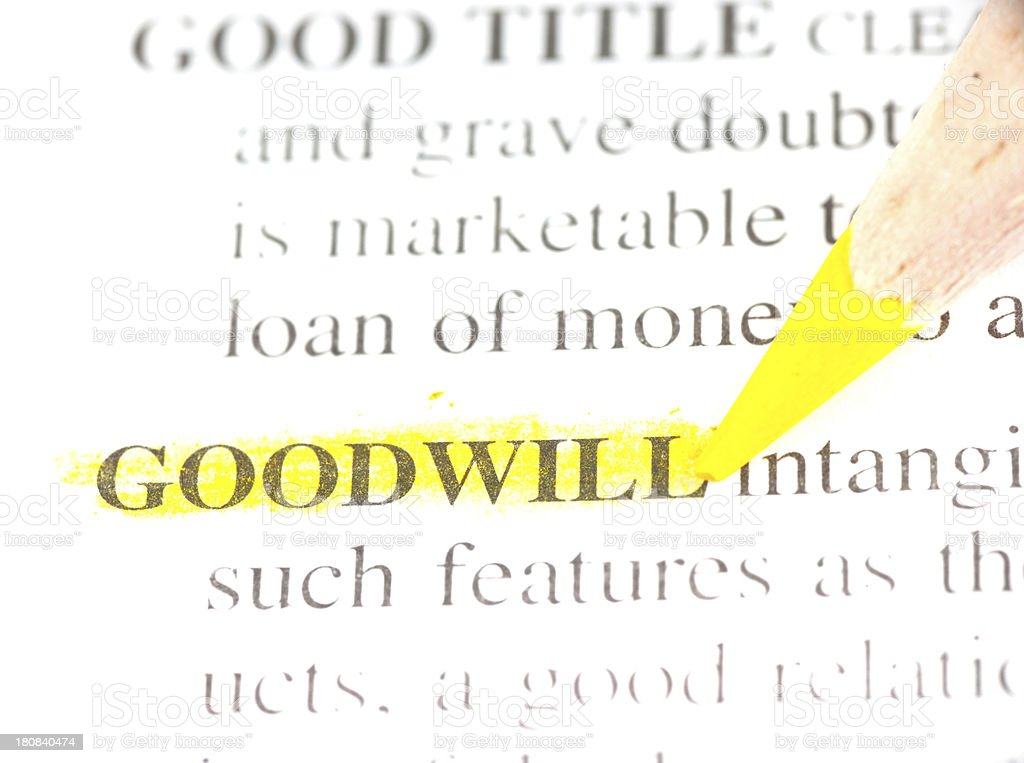 goodwill definition marked in dictionary stock photo
